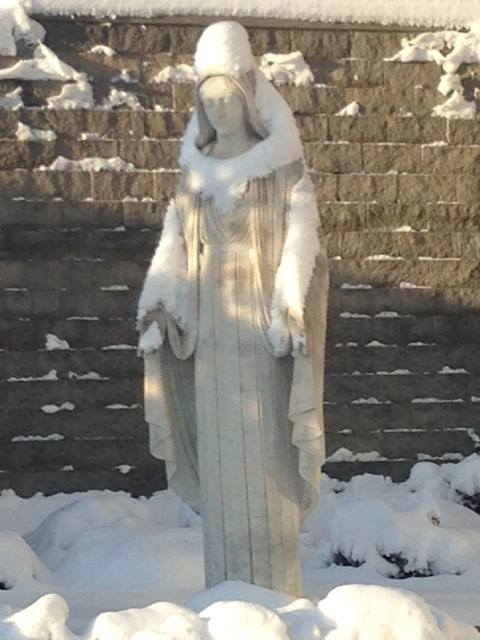 Image result for virgin mary and snow